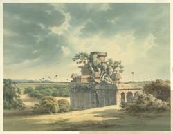'An old ruined Temple about half a mile North of the Village Choultry Mahabilipoorum from a Sketch by Mr J. Braddock'